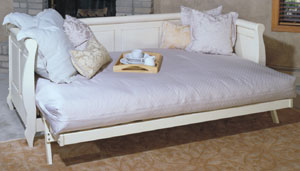 adriana futondaybed frame down in bed position in antique white